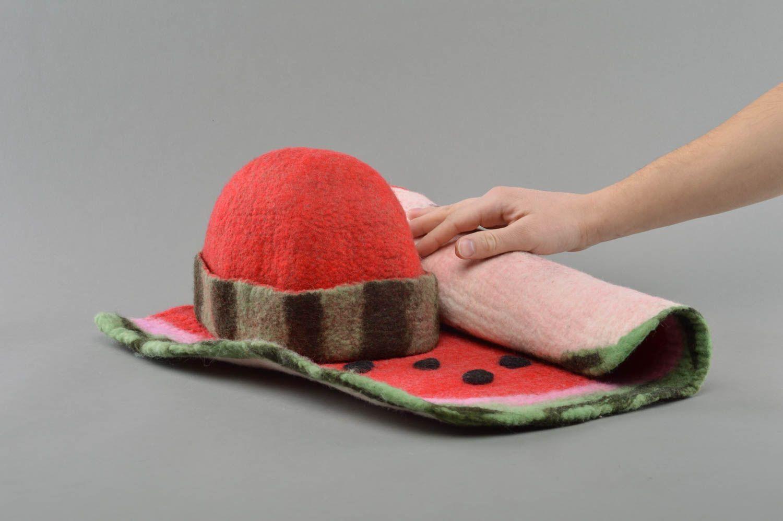 Beautiful handmade designer felted wool hat and mat rug for sauna  photo 4