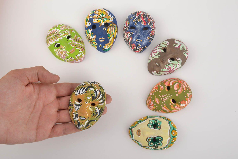 Set of 7 handmade designer souvenir ceramic fridge magnets venetian masks photo 3