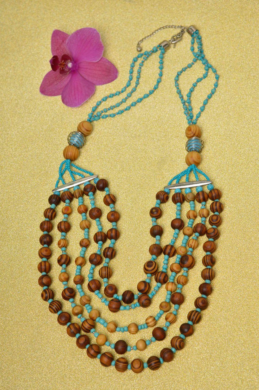 Handmade wooden beaded necklace elegant female necklace stylish accessory photo 1