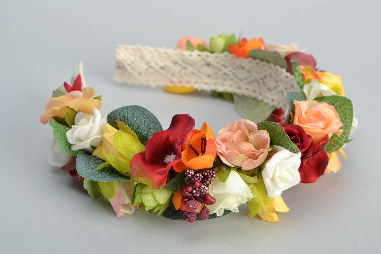 Floral headband made of foamiran and lace photo 3