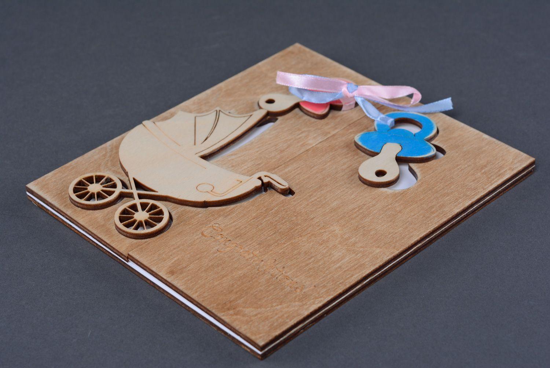 Beautiful unusual plywood greeting card with newborn photo 2