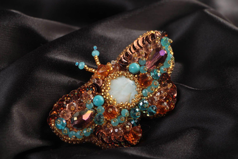 Glasperlen Brosche mit Perlmutt in Form vom Schmetterling groß handgeamacht foto 1