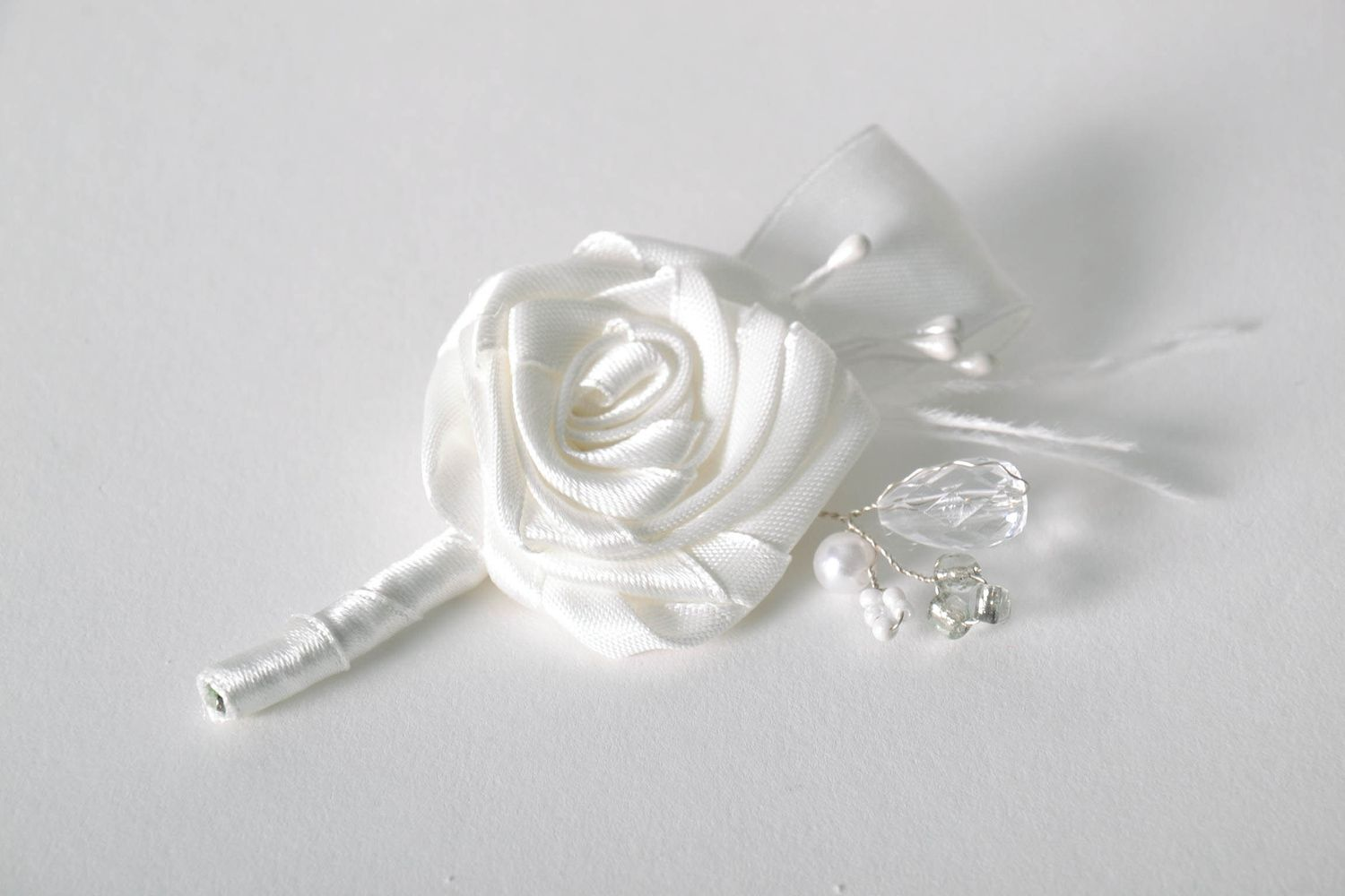 wedding accessories White satin boutonniere - MADEheart.com