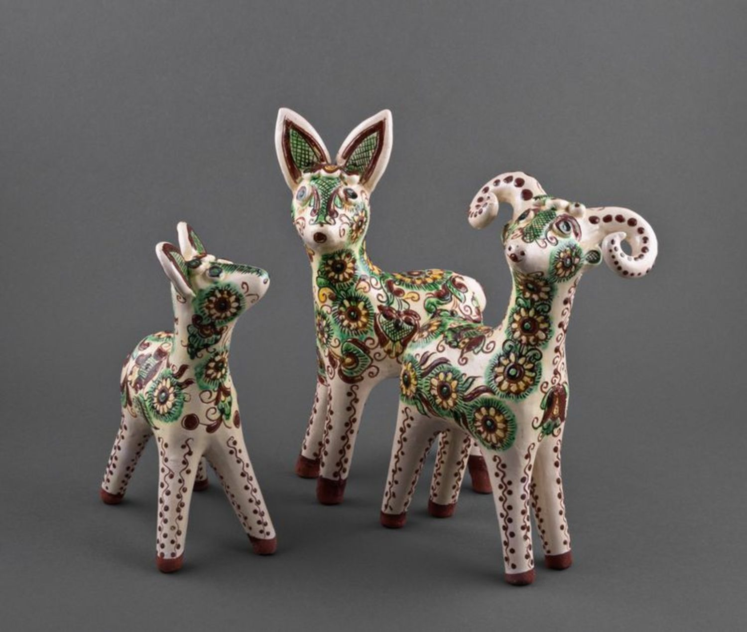 A set of clay figurines Baby Deers photo 1