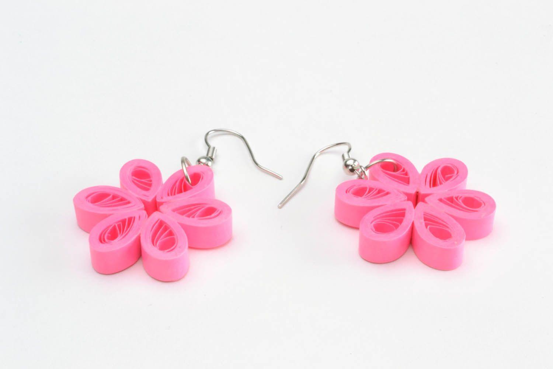 Flower-shaped paper earrings photo 5