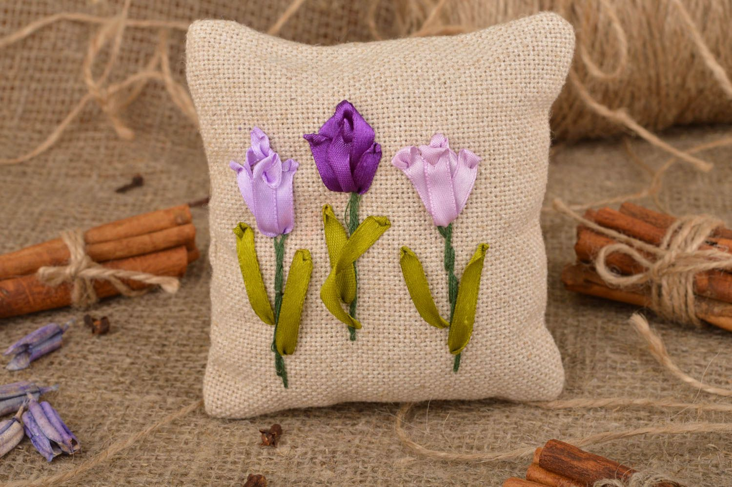 Beautiful small handmade scented linen fabric sachet pillow with embroidery photo 1