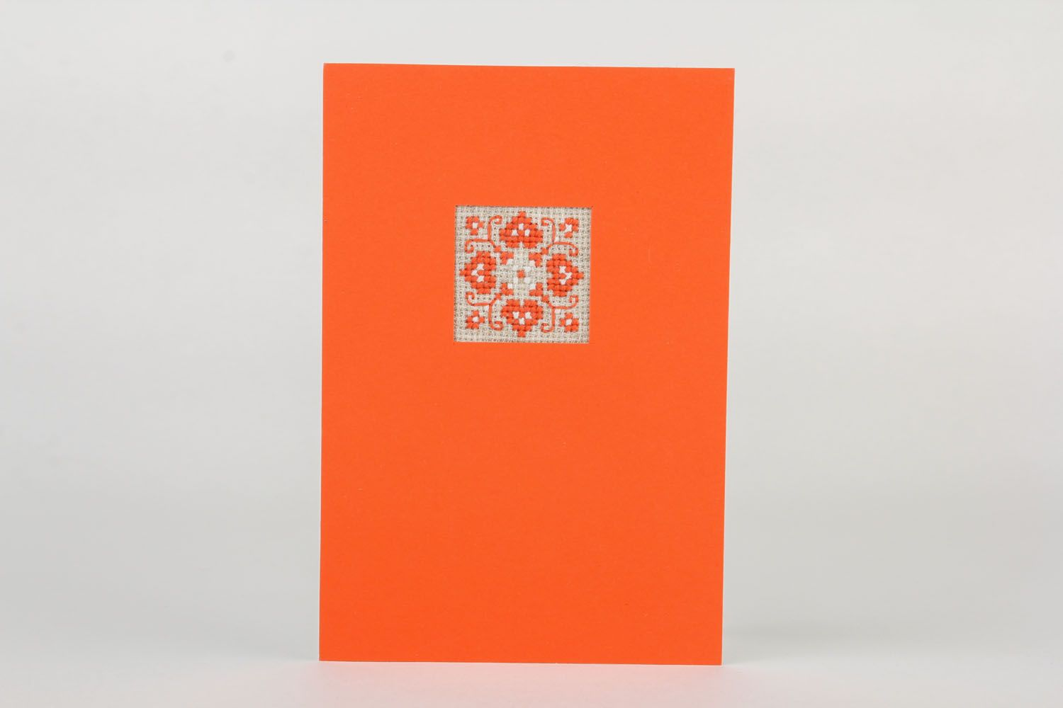 Orange postcard with embroidery  photo 2