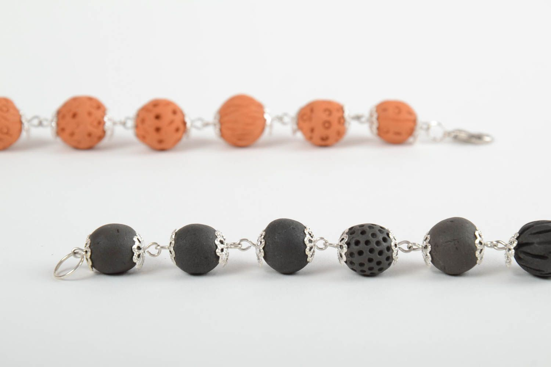Set of 2 handmade beaded bracelets ceramic bracelets fashion accessories photo 6