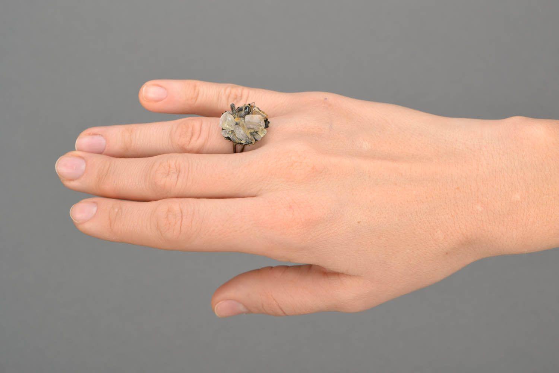 Metal ring with quartz  photo 2