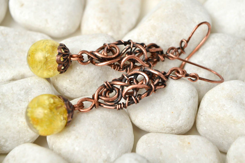 pendientes de alambrismo Pendientes de alambre de cobre aretes artesanales bisutería elegante para mujer , MADEheart