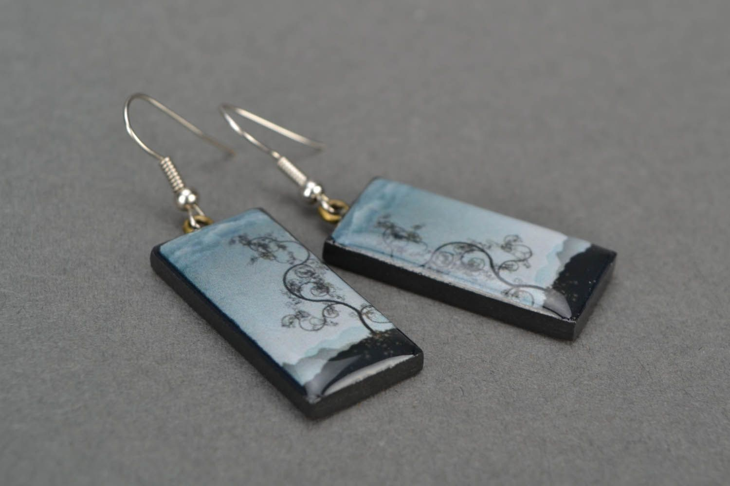Rectangular earrings The Tree of Knowledge photo 5