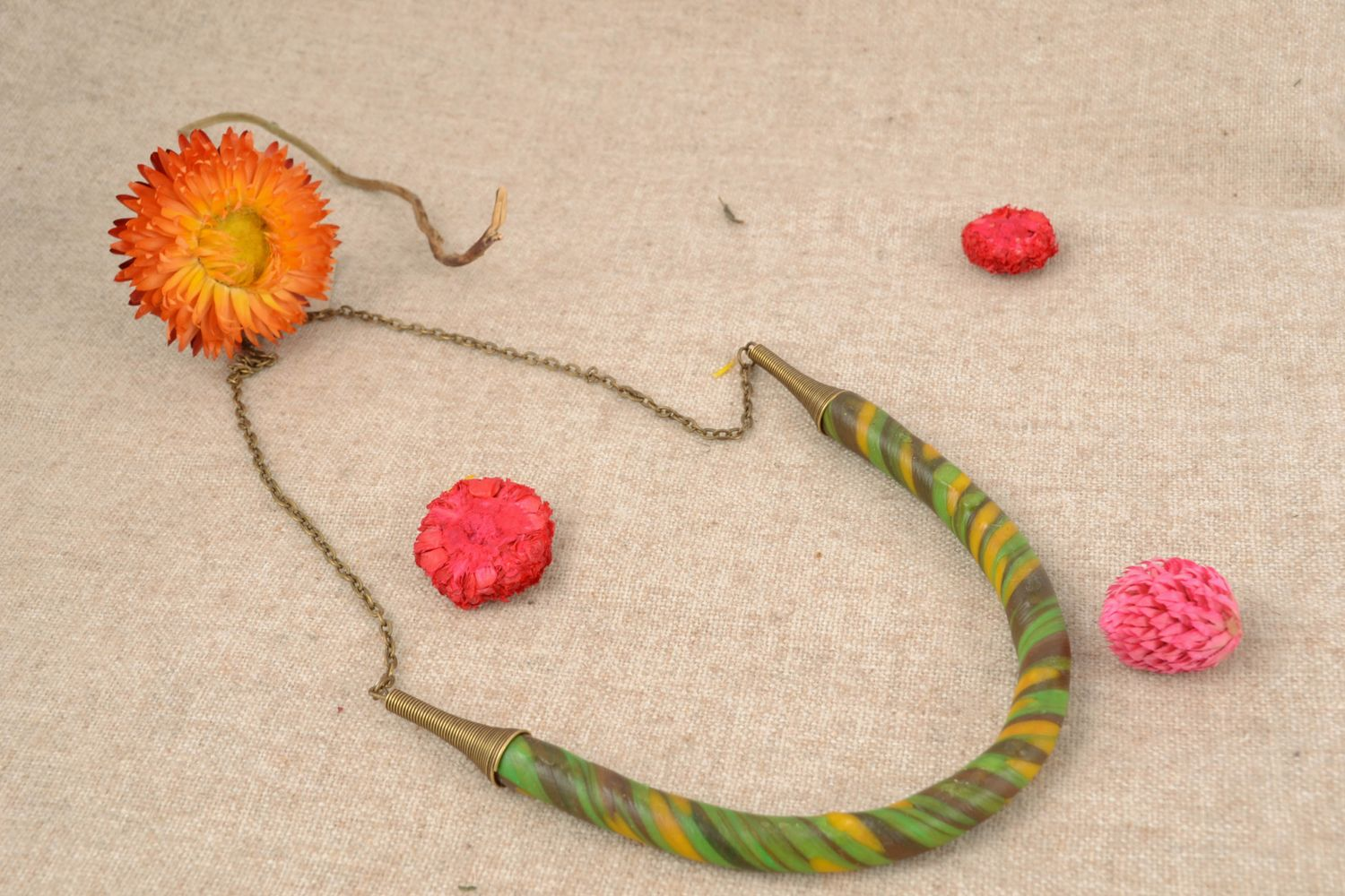 Handmade polymer clay necklace photo 1