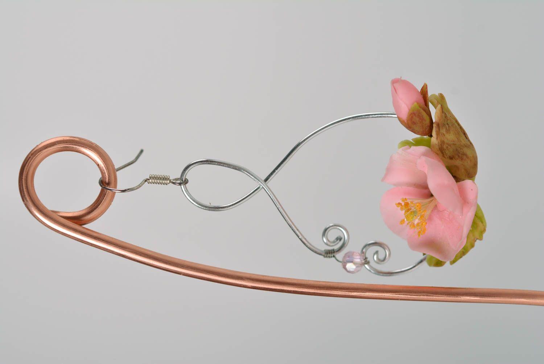 Nice pink women's handmade polymer clay flower earrings designer jewelry photo 5