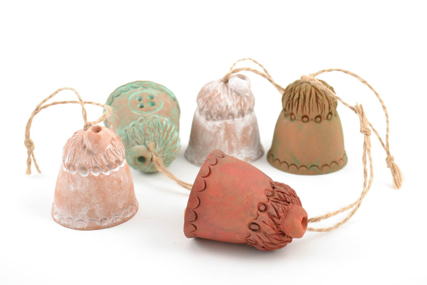 Set of handmade ceramic bells houses 5 pieces made of red clay for home decor photo 5