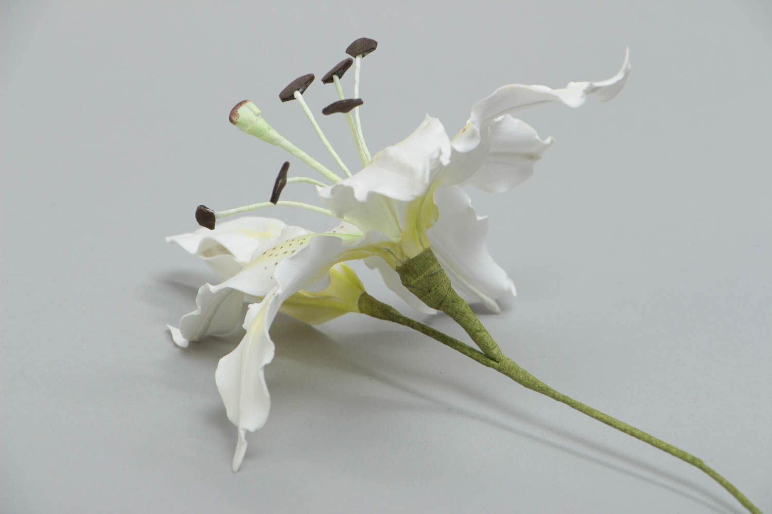 Handmade artificial foamiran flower white lily for interior decoration photo 3