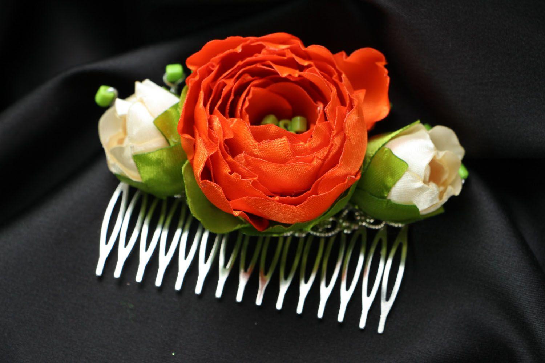 Satin hair clip with flowers photo 1