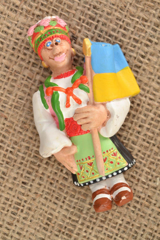 Homemade fridge magnet West Ukrainian Woman with the Flag of Ukraine photo 1