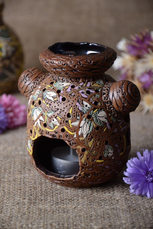 Handmade table decor beautiful ceramic candlestick stylish candlestick photo 1