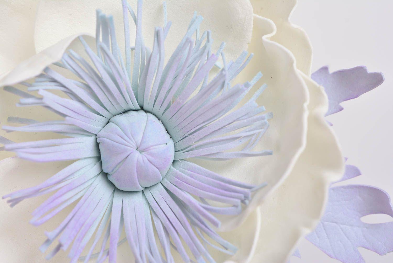 Handmade designer hair clip brooch with large foamiran flower White Poppy photo 2