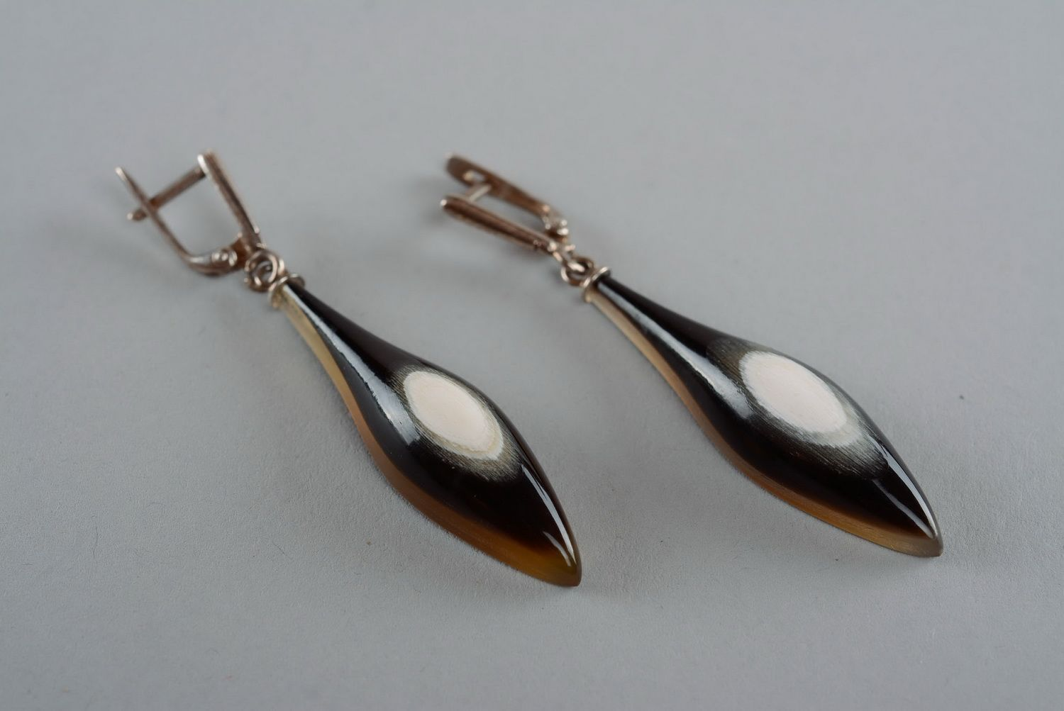 dangle earrings Silver earrings with cow horn - MADEheart.com