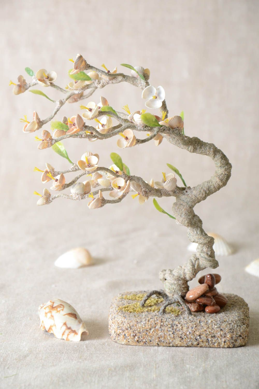 Handmade tree with flowers table decor gift ideas artificial tree home decor photo 1