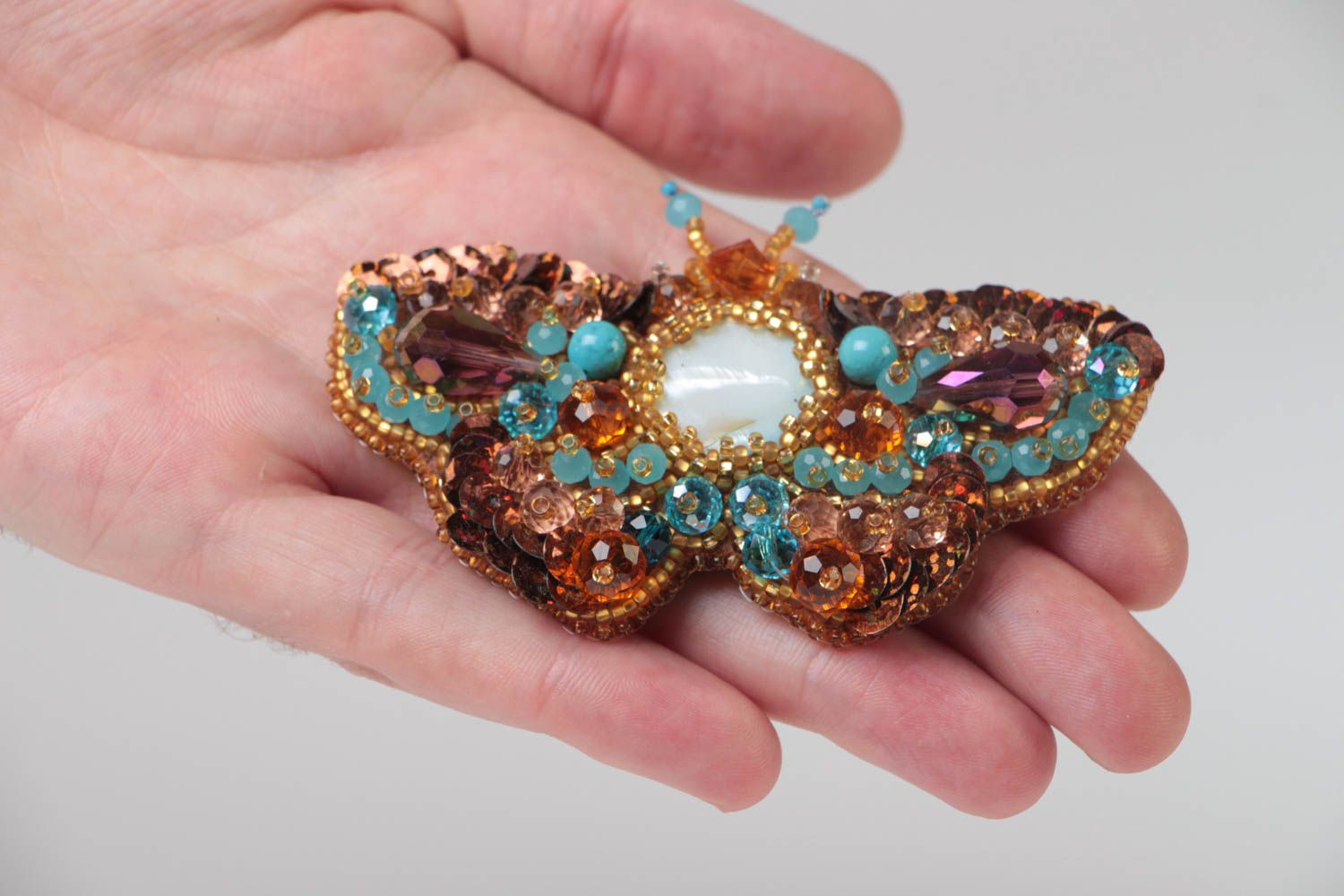 Handmade brown brooch with bead embroidery and nacre Large Butterfly photo 5