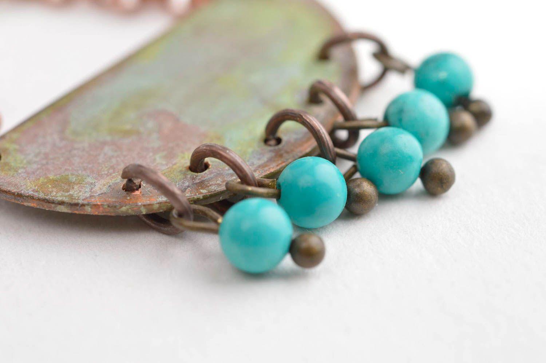colgantes Colgante hecho a mano de cobre regalo original bisutería fina con ágata azul , MADEheart