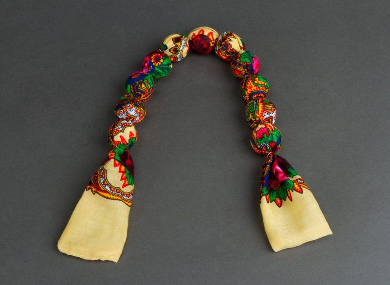 Bead necklace made of Ukrainian scarf photo 2