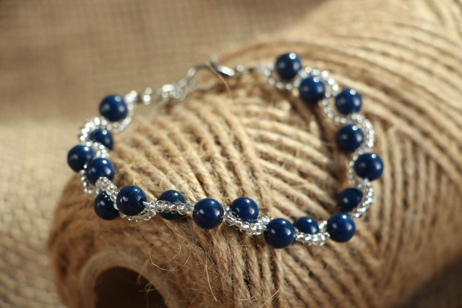 Thin bracelet with natural stone photo 4