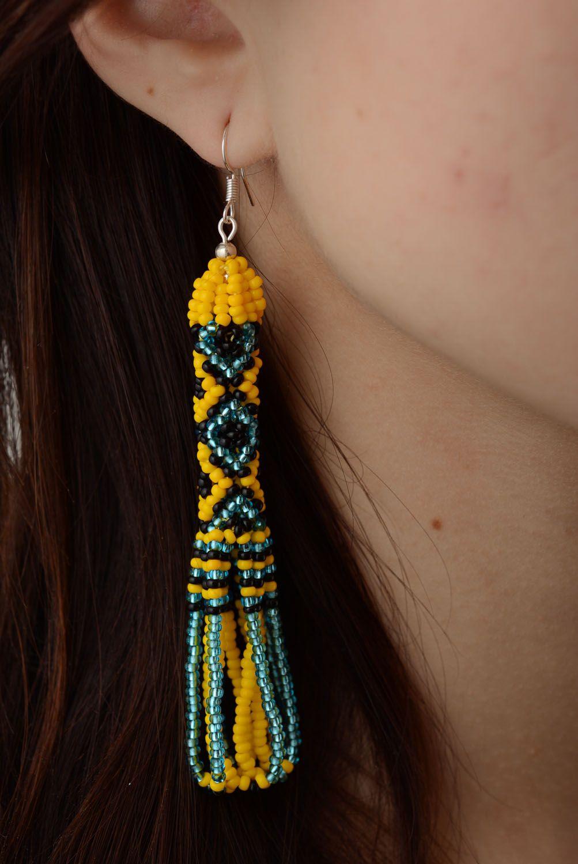 Ethnic beaded earrings photo 5