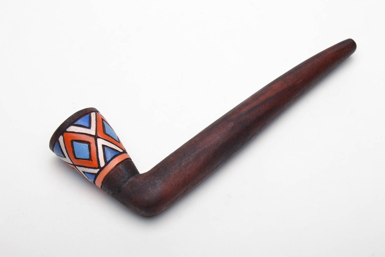 Long wooden smoking pipe with painting photo 2