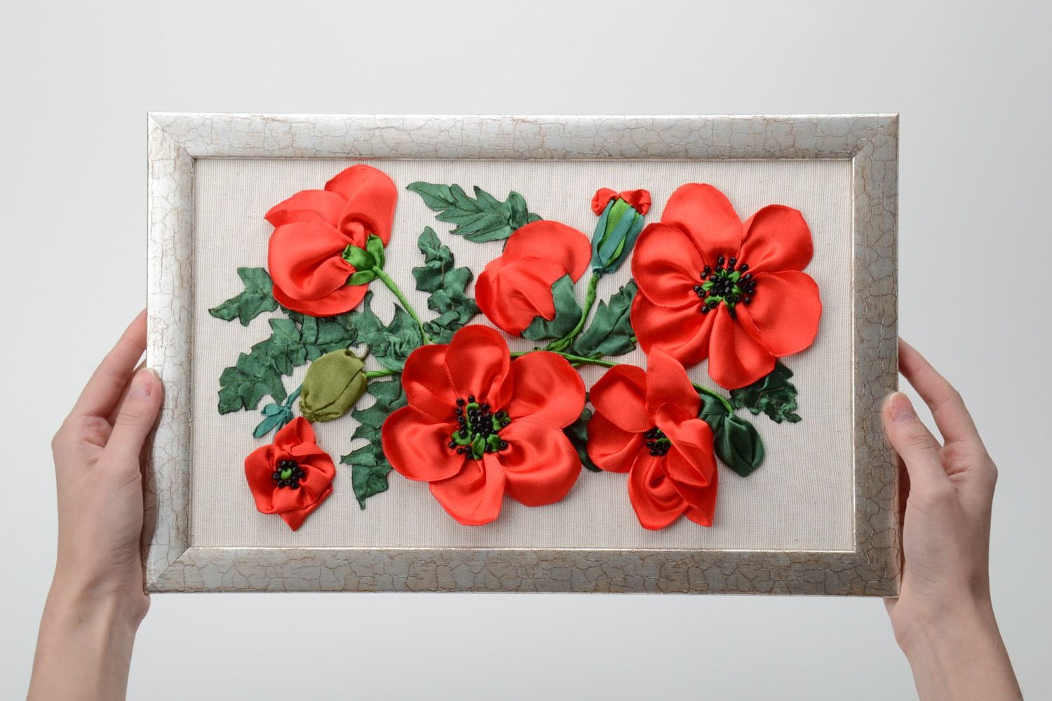 Madeheart gt handmade wall picture with ribbon embroidery