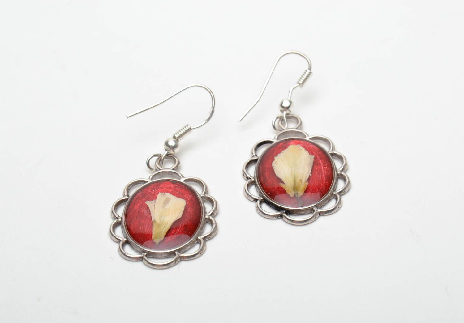 Red earrings with natural flowers and epoxy resin photo 3