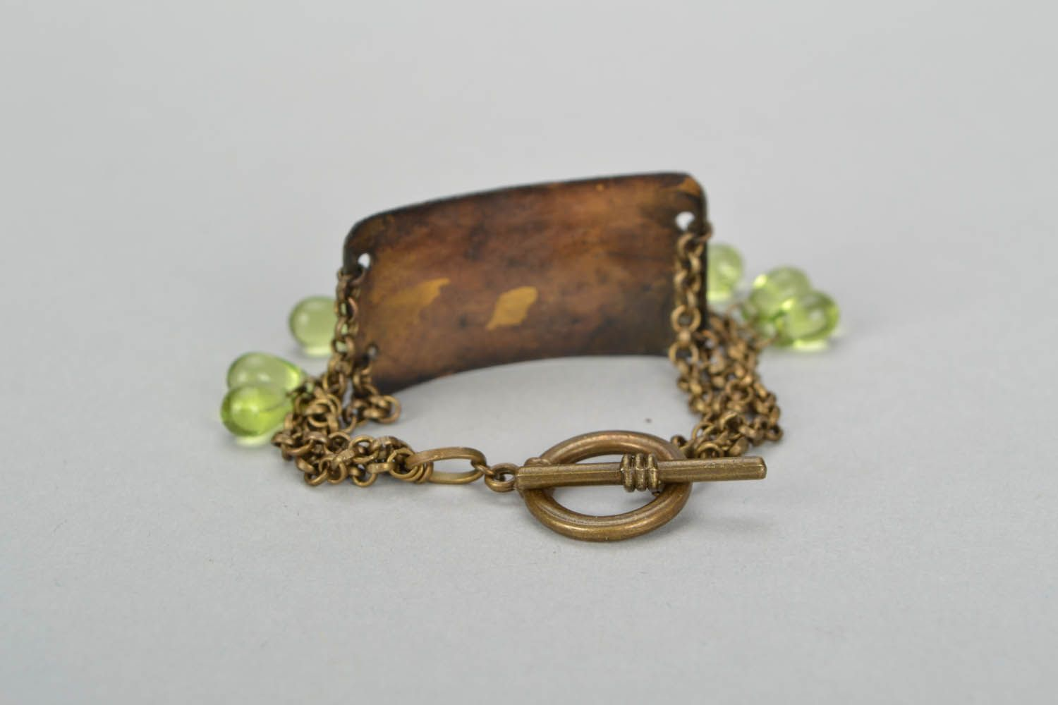Brass bracelet with leaves photo 6