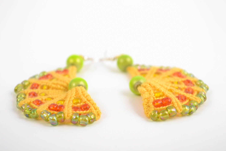 Handmade macrame earrings with beaded charms designer stylish summer accessory  photo 4
