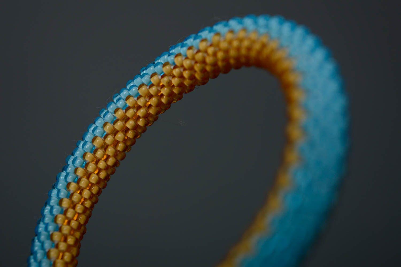 Желто-голубой браслет из бисера фото 2