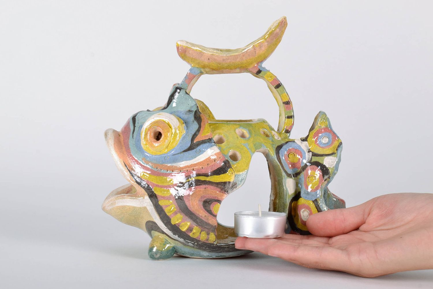 Aroma lamp for three candles Fish photo 5