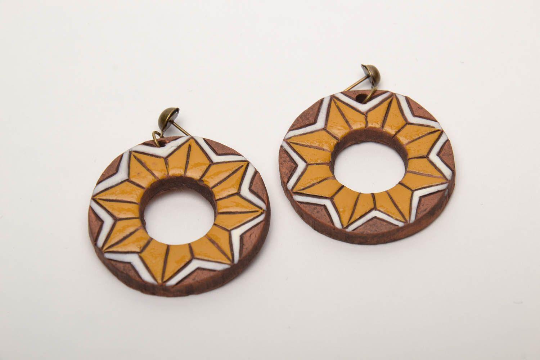Серьги-кольца из глины фото 3