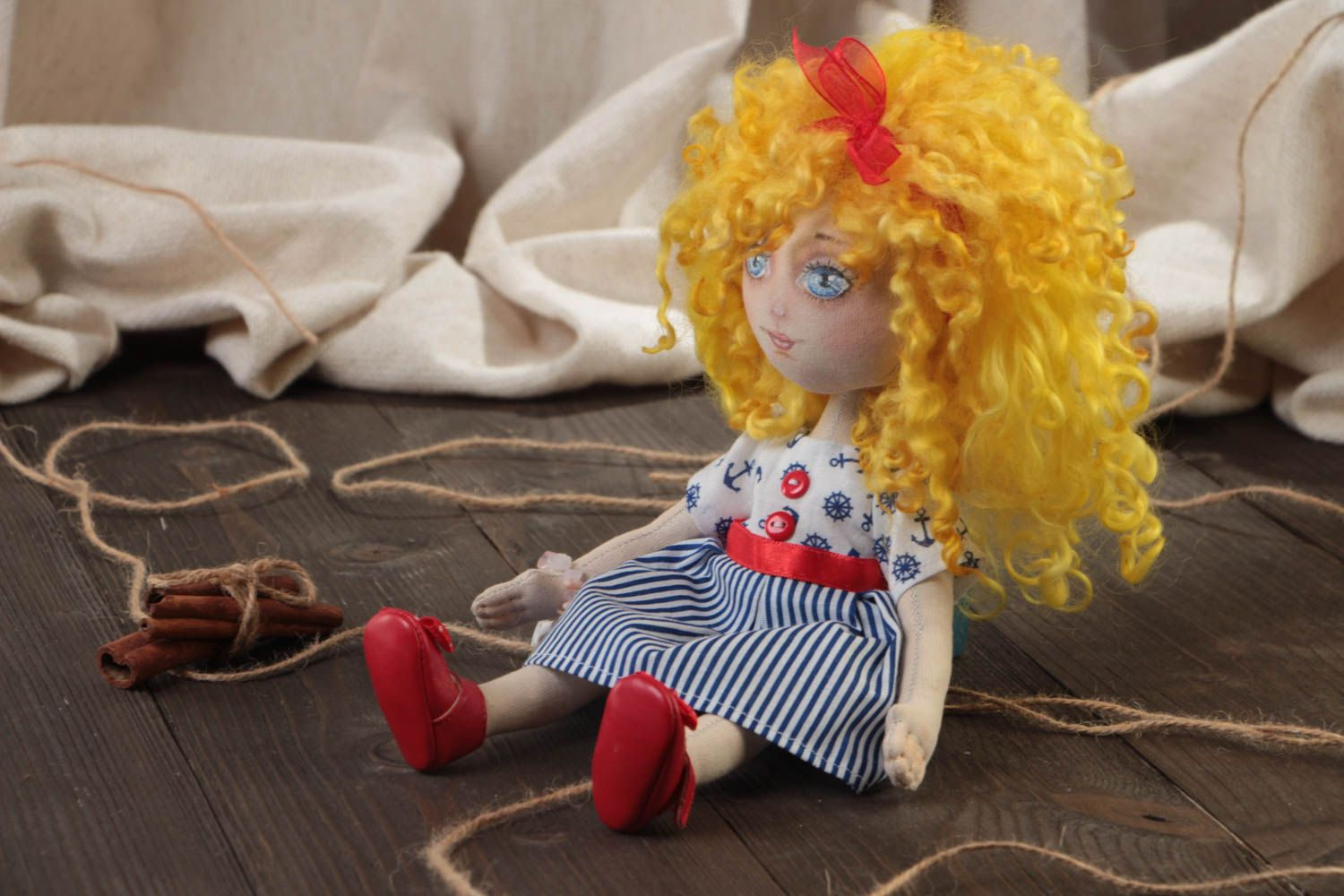 Handmade designer small fabric soft doll in blue striped dress and red shoes photo 1