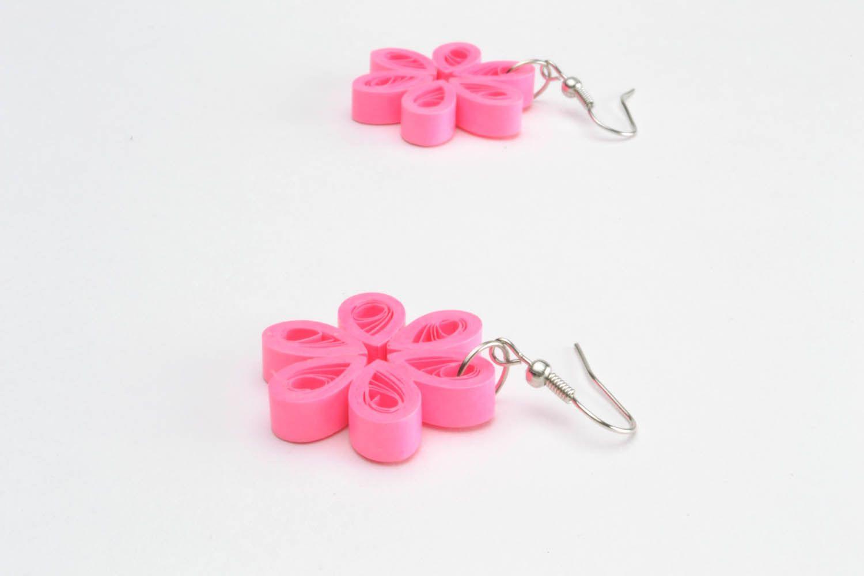 Flower-shaped paper earrings photo 4