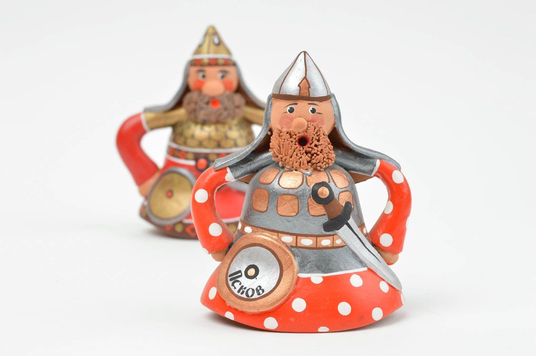 Set of red clay bells handmade ceramic painted bells interior decor ideas  photo 2