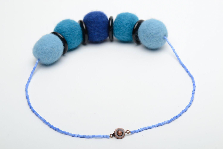 Wool felt necklace in blue color palette  photo 4