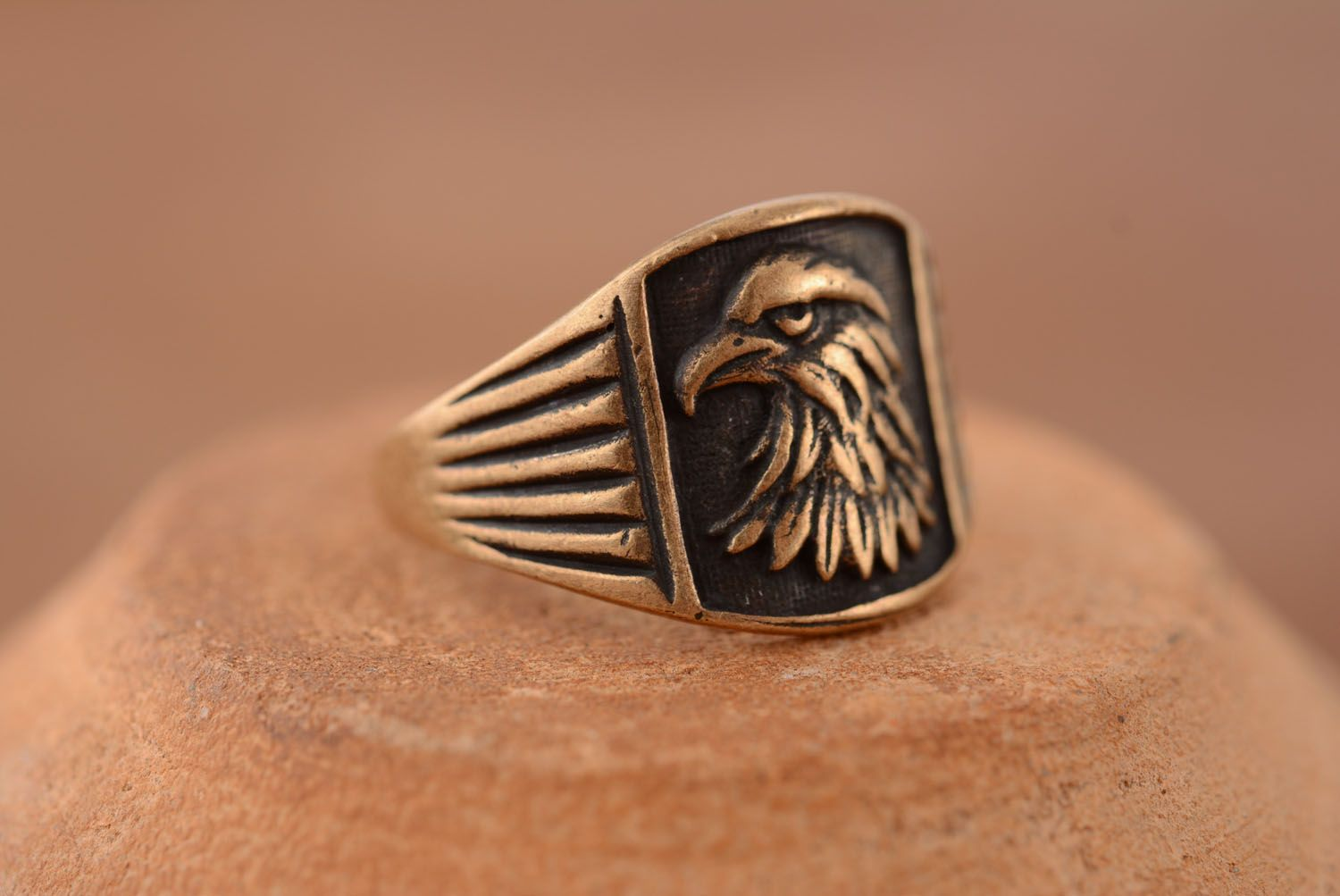 rings with flowers Bronze seal ring