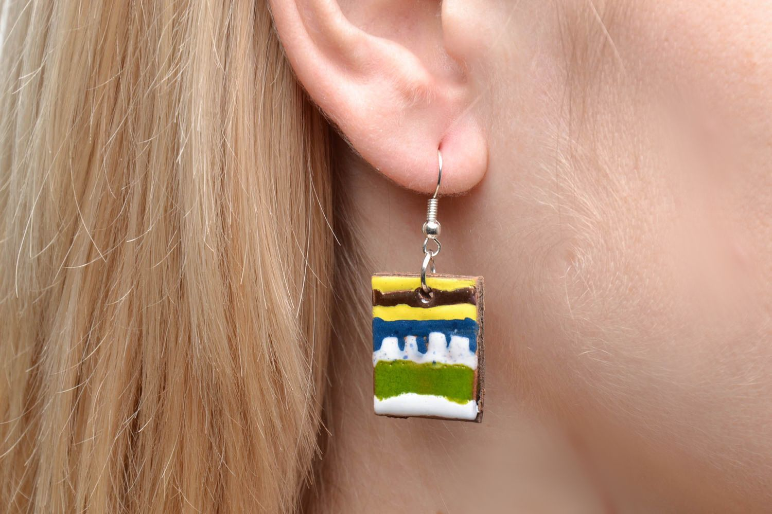 Square clay earrings photo 2