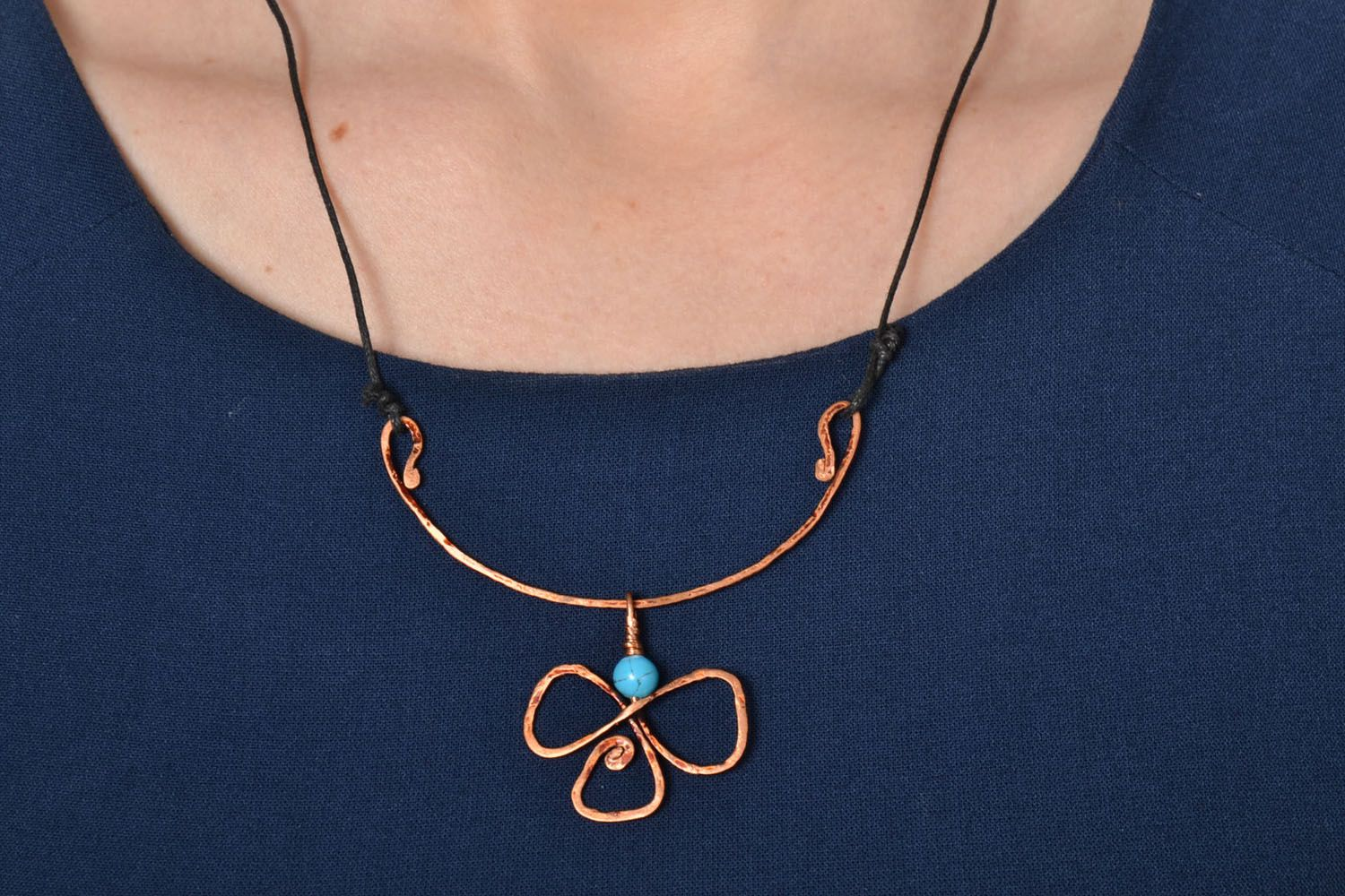 Copper pendant with turquoise photo 2