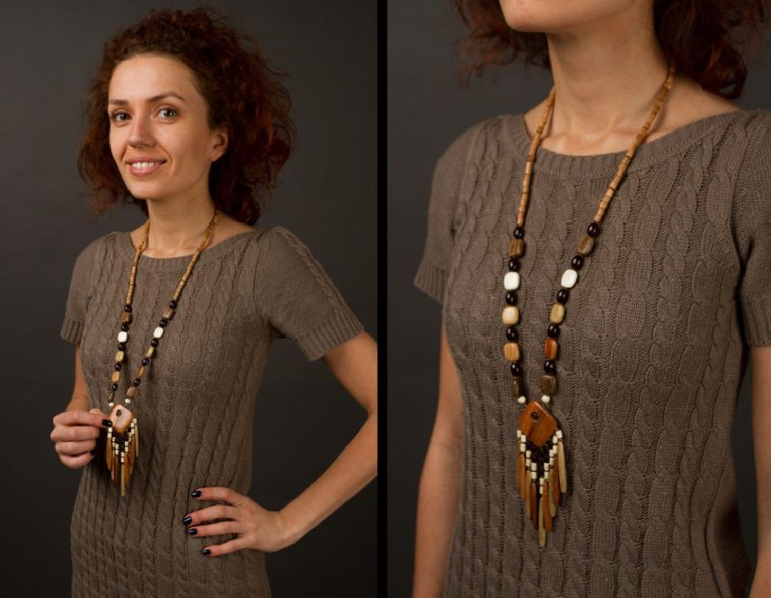 Wooden long necklace photo 2