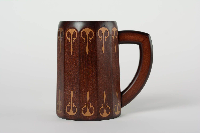 wall decoration Handmade decorative designer large dark wooden beer mug coated with varnish - MADEheart.com