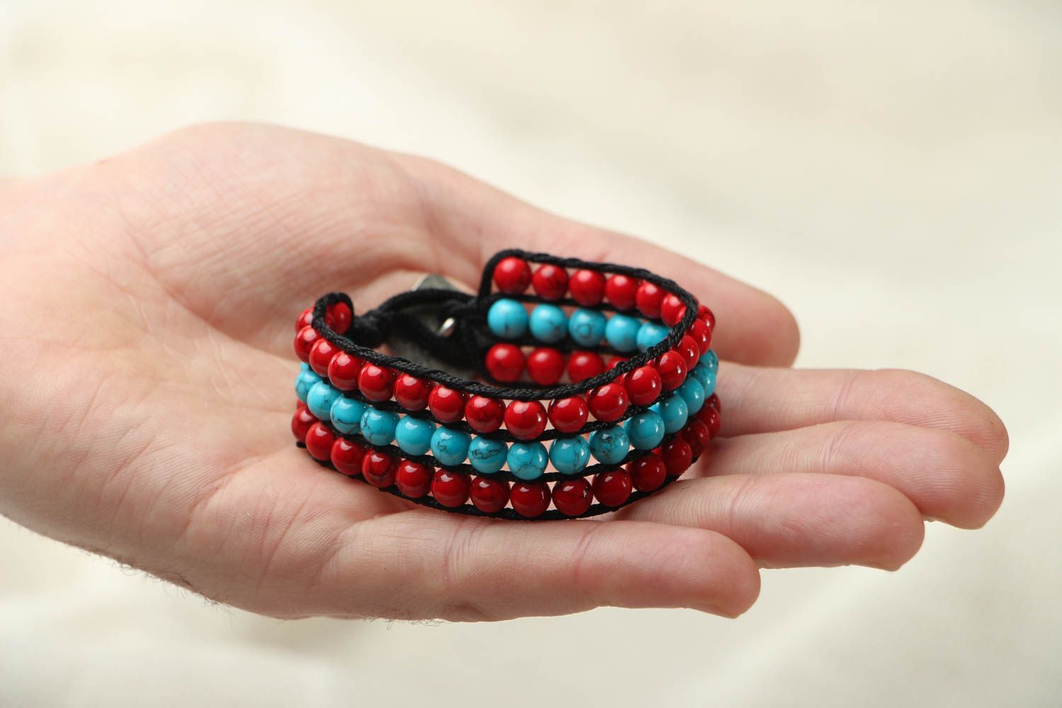 Woven bracelet with coral and turquoise photo 4