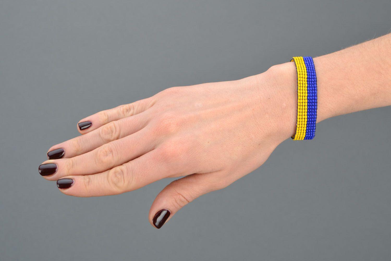 Yellow-blue bead bracelet photo 2