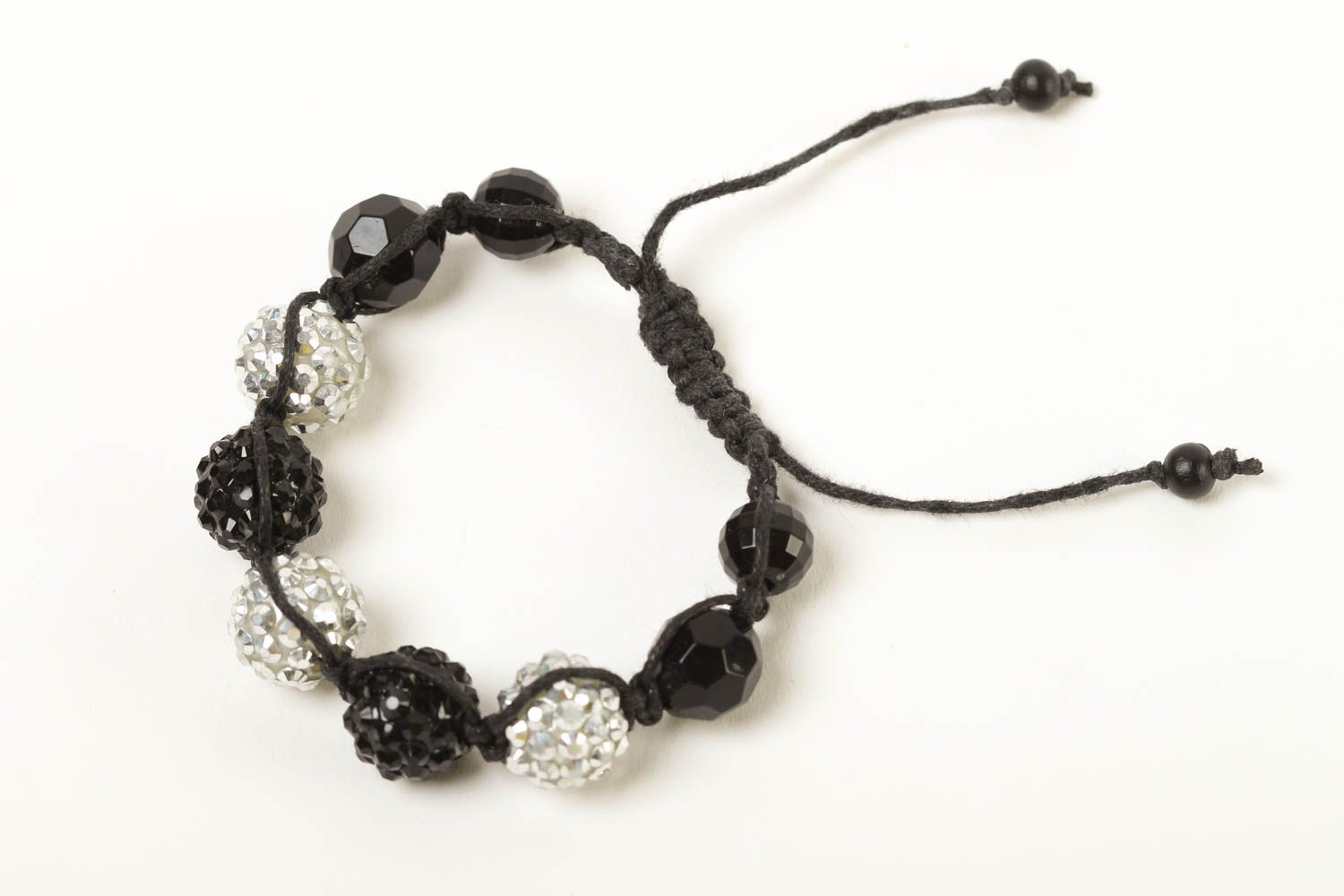 Stylish handmade beaded bracelet woven cord bracelet with beads small gifts photo 1